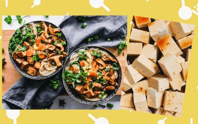 Noedels met tofu en champignons